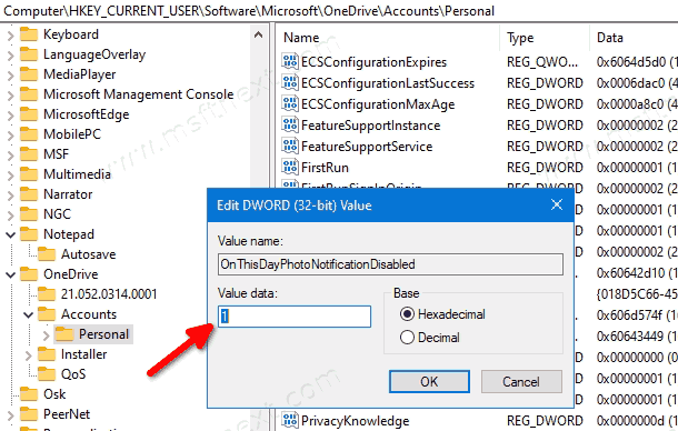 Turn Off OneDrive On This Day Notifications In The Registry