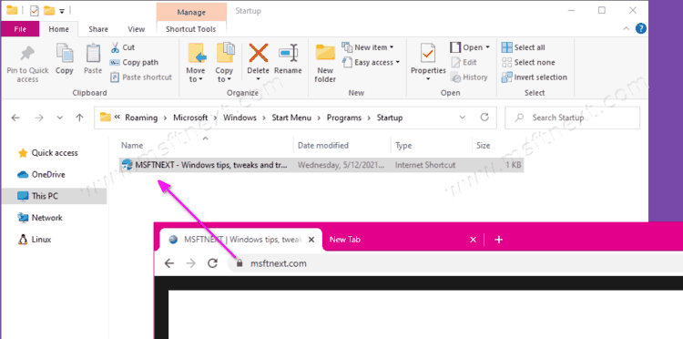 How to automatically open a website on startup in Windows 10