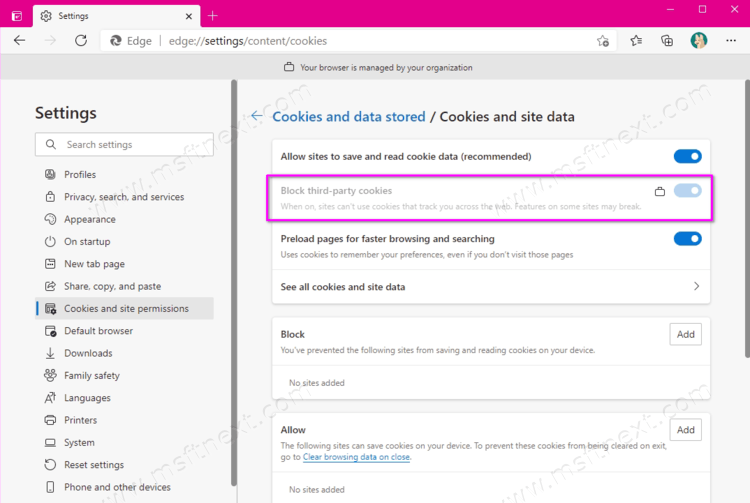 How to block third-party cookies in Microsoft Edge
