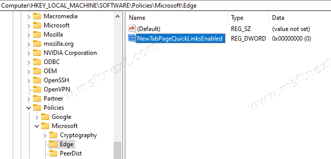 Turn Off Quick Links In Microsoft Edge For All Users