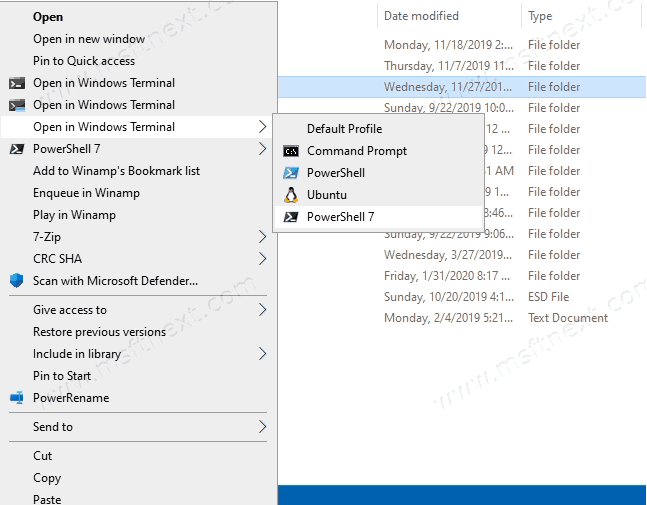 How to add Windows Terminal profiles to the context menu