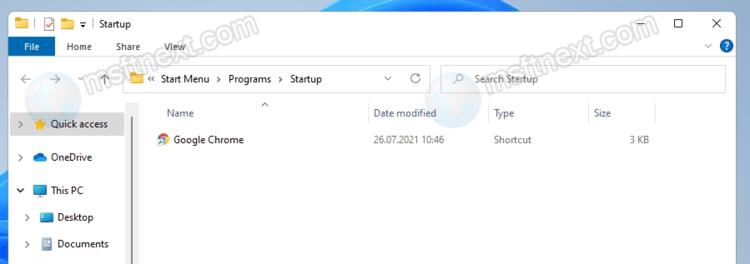 Add application to startup folder