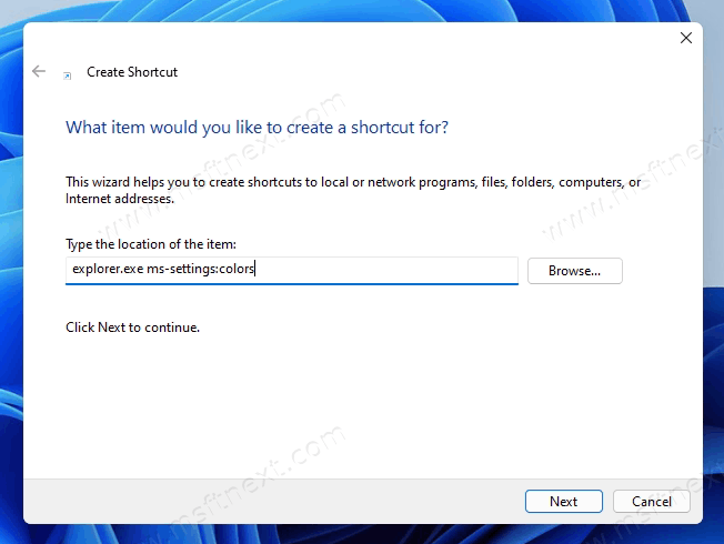 Create Settings Page Shortcut with ms-settings