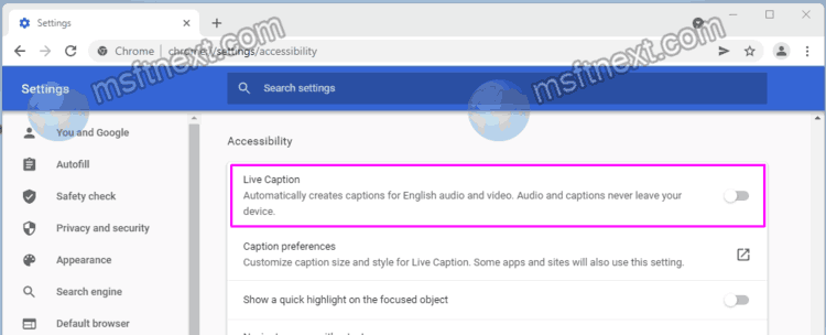 Enable Live Caption In Google Chrome