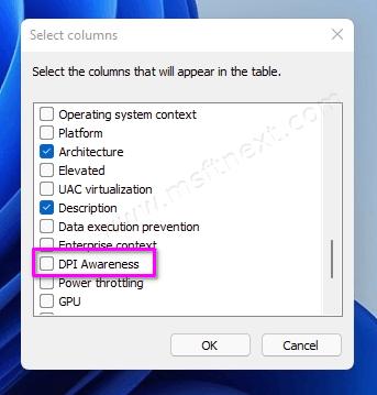 Task Manager Enable DPI Awareness Column