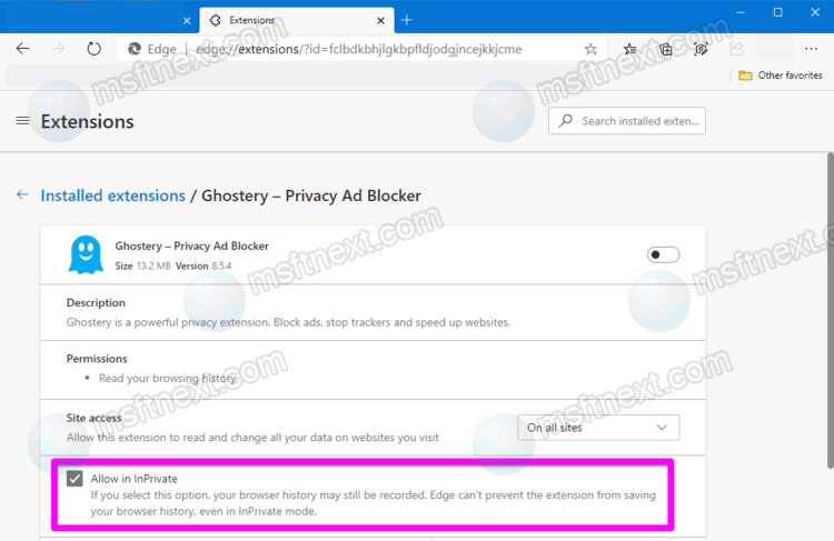 Microsoft Edge InPrivate: Enable Extensions for Private Mode