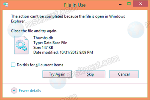 Delete a network folder with thumbs.db file