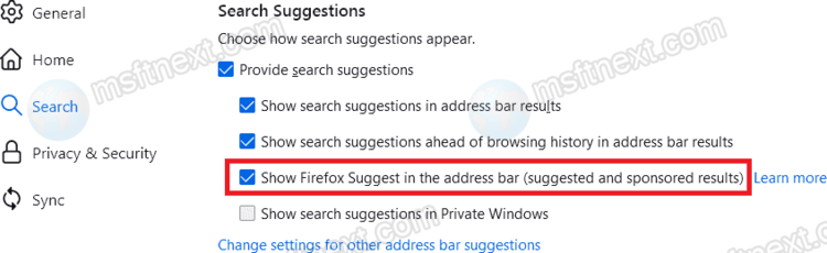 Disable Firefox Suggest