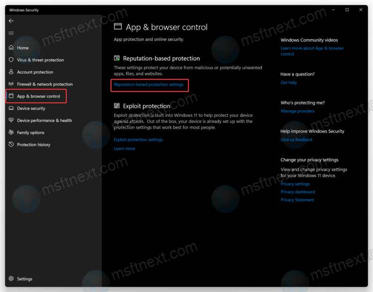 in Windows Security, open theApp & browser control tab