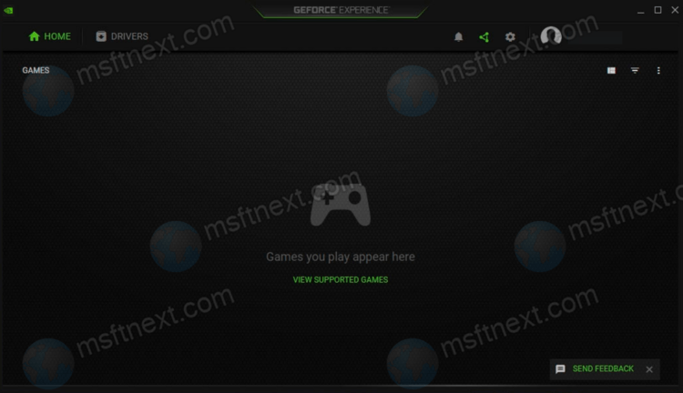 NVIDIA GeForce Experience UI Without Games