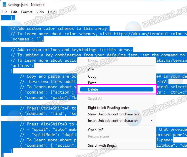 Reset Windows Terminal Settings From JSON File
